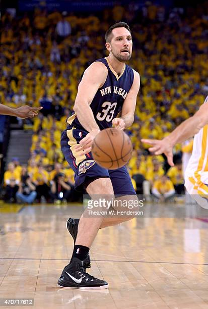 Ryan Anderson of the New Orleans Pelicans passes the ball against the Golden State Warriors during the first round of the 2015 NBA Playoffs at ORACLE...