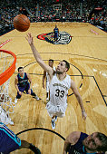 Ryan Anderson of the New Orleans Pelicans reaches for the rebound against the Charlotte Hornets during the game on January 15 2016 at Smoothie King...