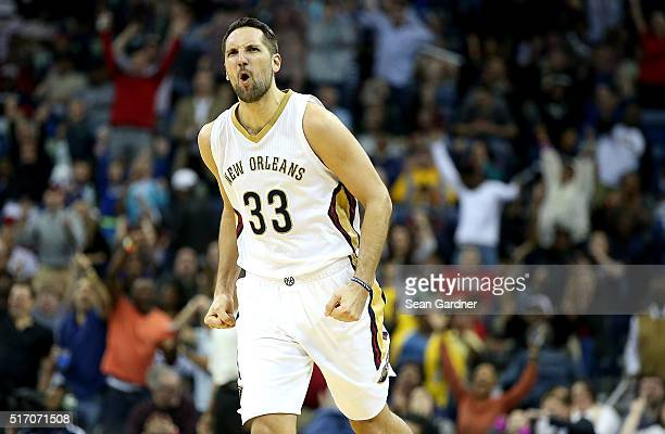 Ryan Anderson of the New Orleans Pelicans reacts after scoring a three pointer against the Portland Trail Blazers during the second half at the...