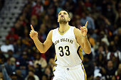 Ryan Anderson of the New Orleans Pelicans reacts to a three point shot during the second half of a game against the Cleveland Cavaliers at the...