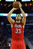 Ryan Anderson of the New Orleans Pelicans shoots a free throw during the second half of a game against the Utah Jazz at the Smoothie King Center on...