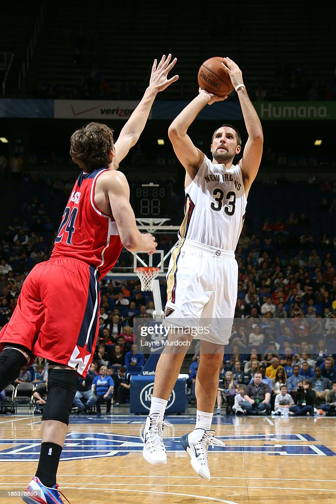 Ryan Anderson #33 of the New Orleans Pelicans shoots over <a gi-track='captionPersonalityLinkClicked' href=/galleries/search?phrase=Jan+Vesely&family=editorial&specificpeople=5620499 ng-click='$event.stopPropagation()'>Jan Vesely</a> #24 of the Washington Wizards during an NBA game on October 19, 2013 at Rupp Arena in Lexington, Kentucky.