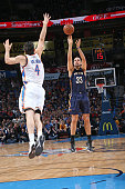 Ryan Anderson of the New Orleans Pelicans shoots the ball against the Oklahoma City Thunder during the game on February 6 2015 at Chesapeake Energy...
