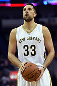 Ryan Anderson of the New Orleans Pelicans takes a shot during the first half of a game against the Houston Rockets at the Smoothie King Center on...
