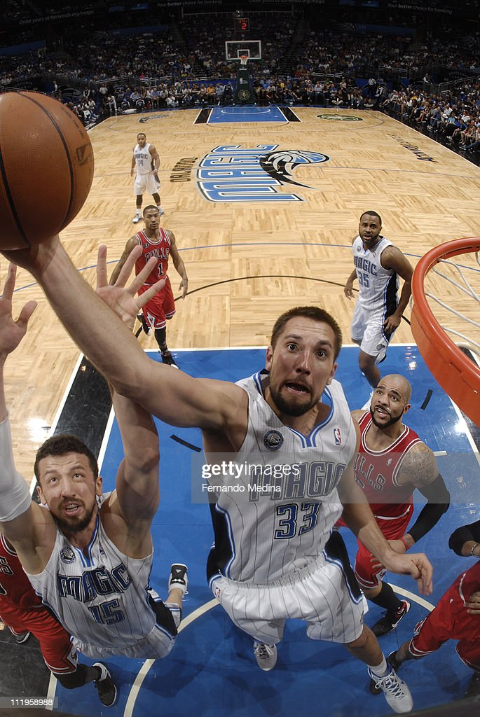 Ryan Anderson #33 of the Orlando Magic dunks over the Chicago Bulls on April 10, 2011 at the Amway Center in Orlando, Florida.