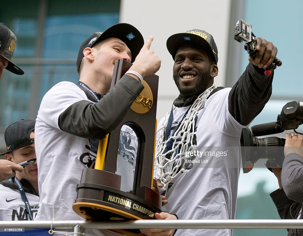 <a gi-track='captionPersonalityLinkClicked' href=/galleries/search?phrase=Ryan+Arcidiacono&family=editorial&specificpeople=7887112 ng-click='$event.stopPropagation()'>Ryan Arcidiacono</a> #15 and <a gi-track='captionPersonalityLinkClicked' href=/galleries/search?phrase=Daniel+Ochefu&family=editorial&specificpeople=9986325 ng-click='$event.stopPropagation()'>Daniel Ochefu</a> #23 of the Villanova Wildcats celebrate during the Villanova Wildcats Championship Parade on April 8, 2016 in Philadelphia, Pennsylvania.