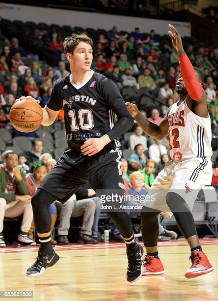 Ryan Arcidiacono of the Austin Spurs drives to the basket and shoots the ball against the Windy City Bulls during a NBA DLeague game on March 17 2017...