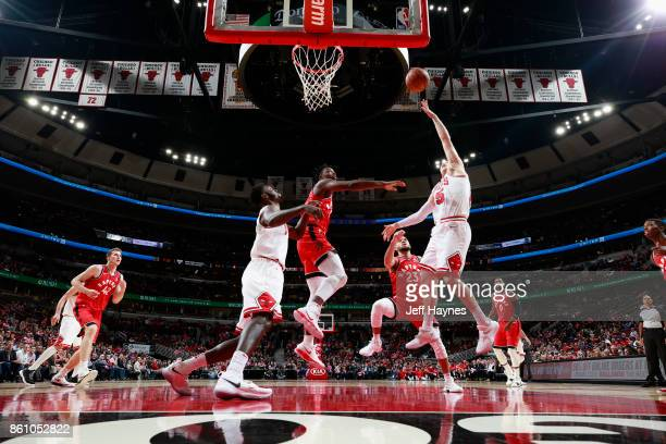 Ryan Arcidiacono of the Chicago Bulls goes to the basket against the Toronto Raptors on October 13 2017 at the United Center in Chicago Illinois NOTE...