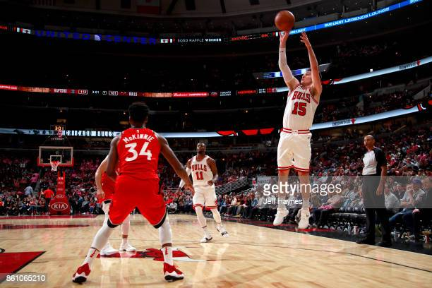 Ryan Arcidiacono of the Chicago Bulls shoots the ball against the Toronto Raptors on October 13 2017 at the United Center in Chicago Illinois NOTE TO...