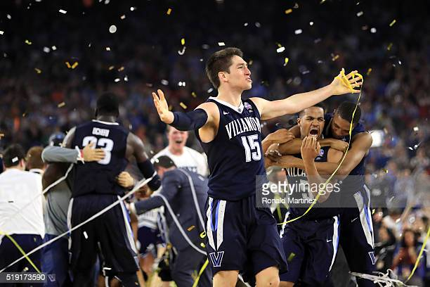 Ryan Arcidiacono of the Villanova Wildcats celebrates defeating the North Carolina Tar Heels 7774 to win the 2016 NCAA Men's Final Four National...