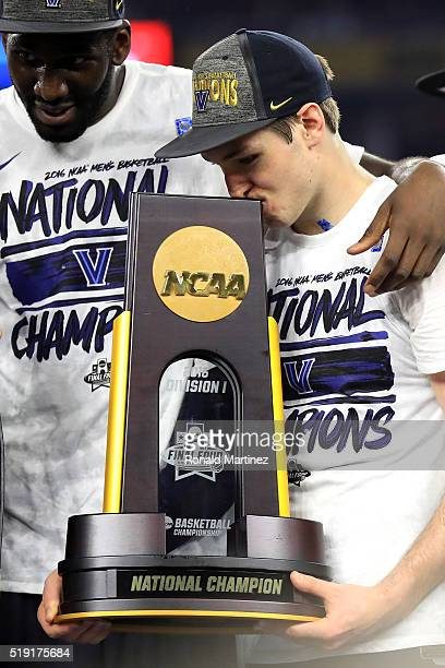 Ryan Arcidiacono of the Villanova Wildcats celebrates with the trophy after defeating the North Carolina Tar Heels 7774 to win the 2016 NCAA Men's...