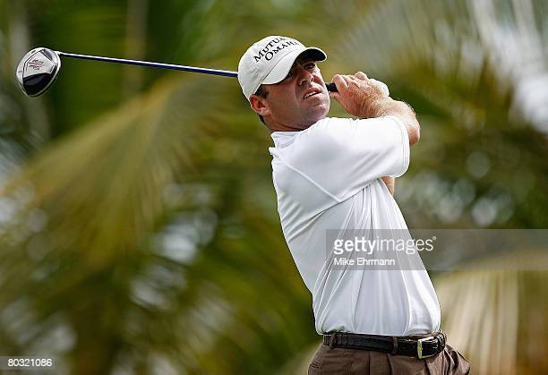 Ryan Armour hits his tee shot on the 10th hole during the first round of the Puerto Rico Open presented by Banco Popular held on March 20 2008 at...