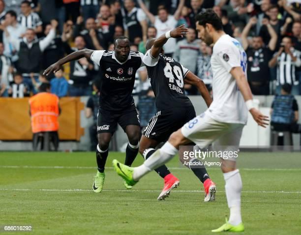Ryan Babel and Vincent Aboubakar of Besiktas celebrate after scoring a goal during the Turkish Spor Toto Super Lig soccer match between Besiktas and...