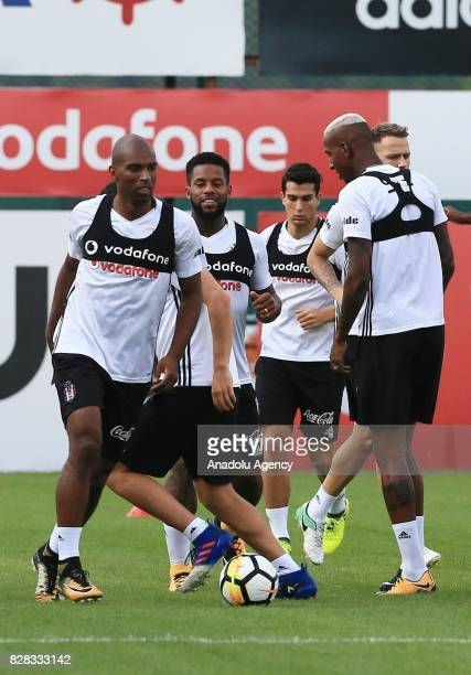 Ryan Babel Jeremain Lens Necip Uysal and Anderson Talisca of Besiktas attend a training session ahead of the Turkish Spor Toto Super Lig new season...