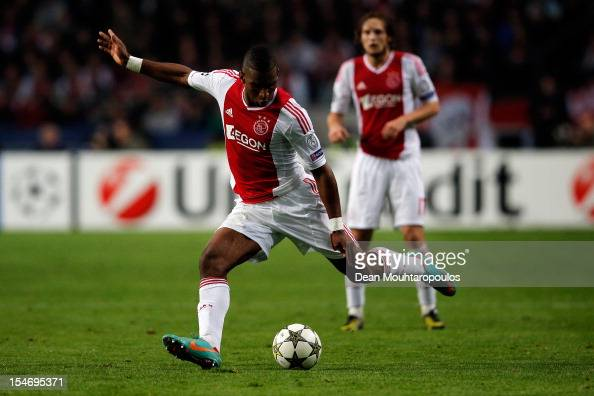 Ryan Babel of Ajax in action during the Group D UEFA Champions League match between AFC Ajax and Manchester City FC at Amsterdam ArenA on October 24...