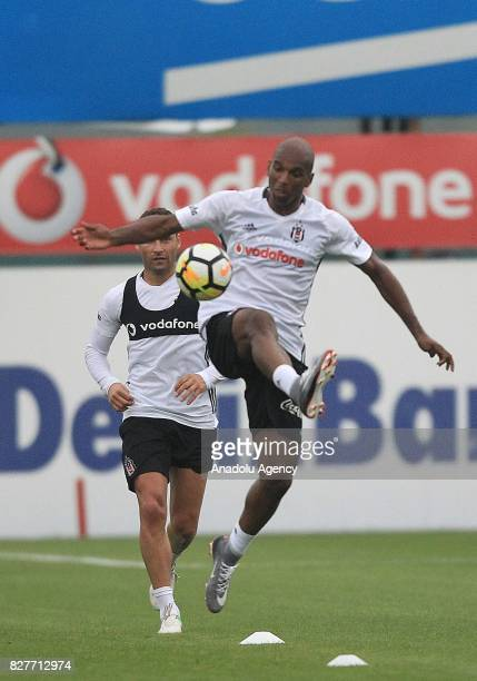 Ryan Babel of Besiktas attends a training session ahead of the Turkish Spor Toto Super Lig new season match between Besiktas and Antalyaspor at...