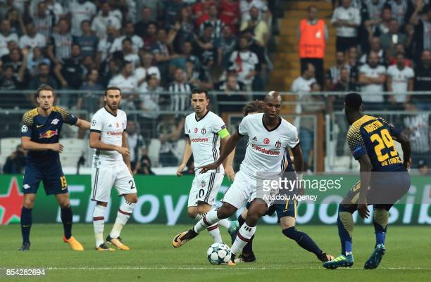 Ryan Babel of Besiktas in action against JeanKevin Augustin and Marcel Sabitzer of Leipzig during a UEFA Champions League Group G match between...
