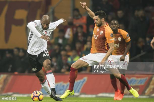 Ryan Babel of Besiktas JK Hakan Kadir Balta of Galatasarayduring the Turkish Spor Toto Super Lig football match between Galatasaray SK and Besiktas...