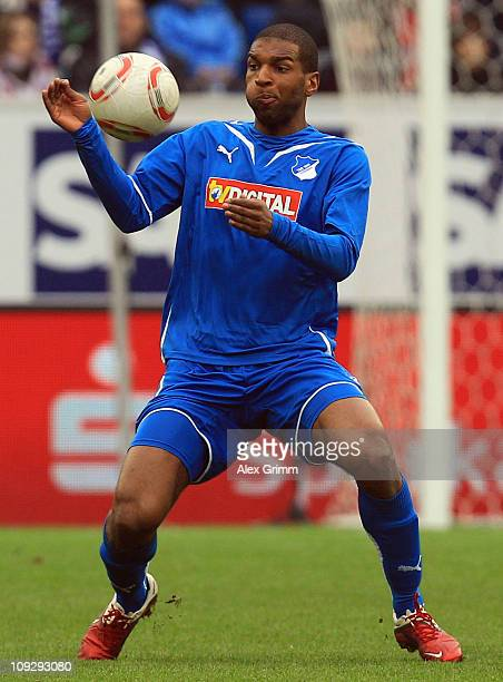 Ryan Babel of Hoffenheim controles the ball during the Bundesliga match between 1899 Hoffenheim and 1 FC Koeln at RheinNeckar Arena on February 19...