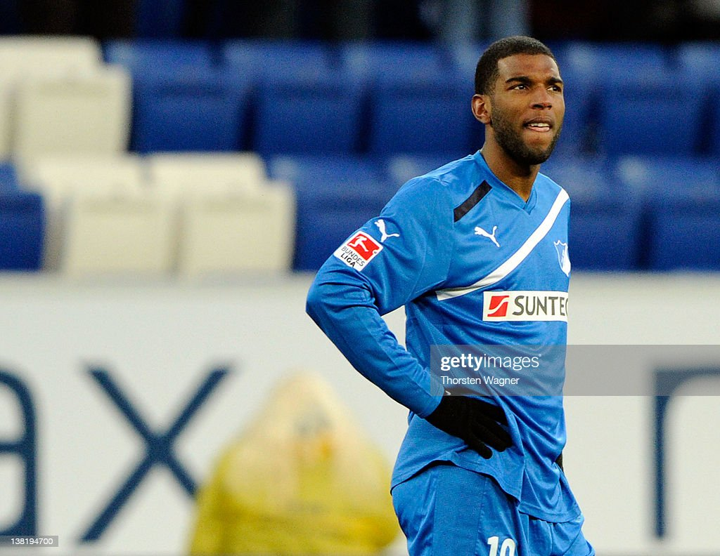 Ryan Babel of Hoffenheim looks dejected after the Bundesliga match between TSG 1899 Hoffenheim and FC Augsburg at RheinNeckarArena on February 4 2012...