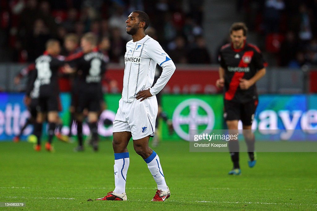 <a gi-track='captionPersonalityLinkClicked' href=/galleries/search?phrase=Ryan+Babel&family=editorial&specificpeople=543539 ng-click='$event.stopPropagation()'>Ryan Babel</a> of Hoffenheim looks dejected after the first goal of Leverkusen during the Bundesliga match between Bayer 04 Leverkusen and 1899 Hoffenheim at BayArena on December 2, 2011 in Leverkusen, Germany.
