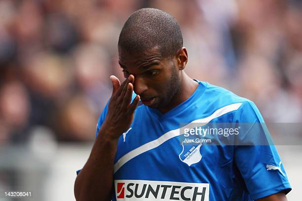 Ryan Babel of Hoffenheim reacts during the Bundesliga match between 1899 Hoffenheim and Bayer 04 Leverkusen at RheinNeckarArena on April 21 2012 in...