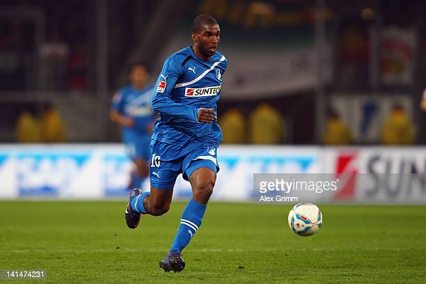 Ryan Babel of Hoffenheim runs with the ball during the Bundesliga match between 1899 Hoffenheim and VfB Stuttgart at RheinNeckarArena on March 16...