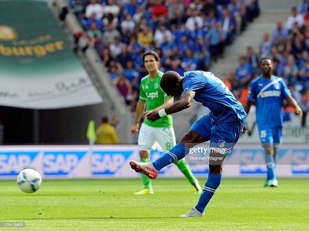 <a gi-track='captionPersonalityLinkClicked' href=/galleries/search?phrase=Ryan+Babel&family=editorial&specificpeople=543539 ng-click='$event.stopPropagation()'>Ryan Babel</a> of Hoffenheim scored his teams opening goal during the Bundesliga match between TSG 1899 Hoffenheim and VFL Wolfsburg at Rhein-Neckar-Arena on September 17, 2011 in Sinsheim, Germany.