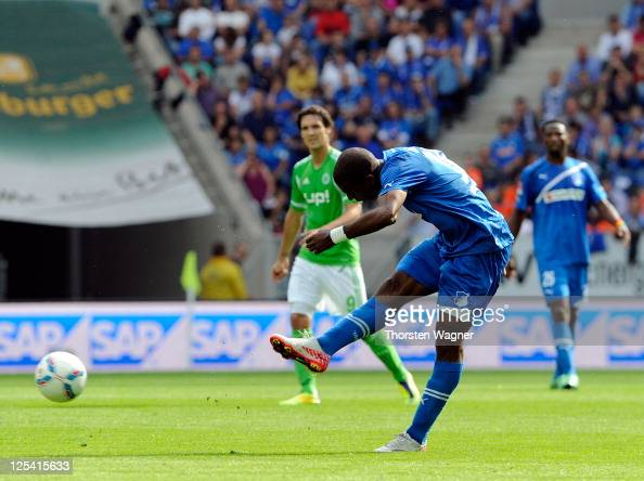 Ryan Babel of Hoffenheim scored his teams opening goal during the Bundesliga match between TSG 1899 Hoffenheim and VFL Wolfsburg at RheinNeckarArena...