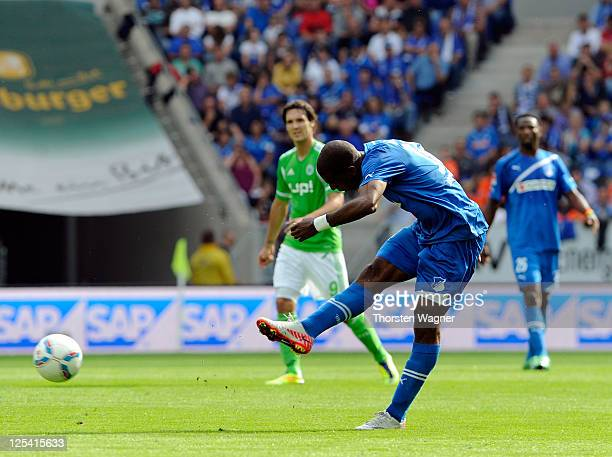 Ryan Babel of Hoffenheim scored his teams opening goal during the Bundesliga match between TSG 1899 Hoffenheim and VFL Wolfsburg at RheinNeckarArena...