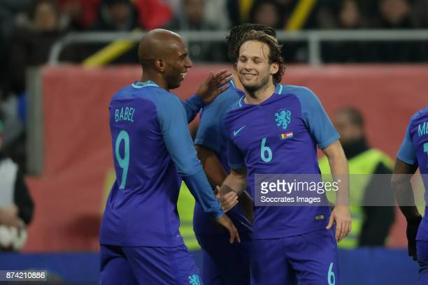 Ryan Babel of Holland celebrate 02 with Daley Blind of Holland during the International Friendly match between Romania v Holland at the Arena...