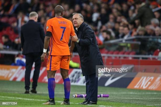 Ryan Babel of Holland coach Dick Advocaat of Holland during the FIFA World Cup 2018 qualifying match between The Netherlands and Sweden at the...