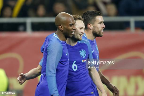 Ryan Babel of Holland Daley Blind of Holland Kevin Strootman of Holland during the friendly match between Romania and The Netherlands on November 14...