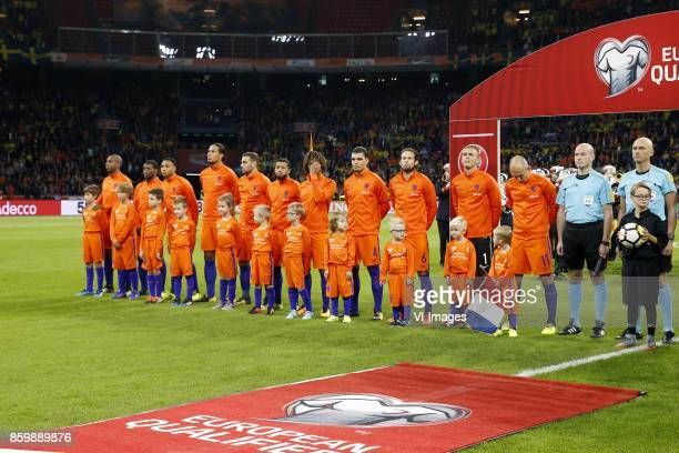 Ryan Babel of Holland Georginio Wijnaldum of Holland Kenny Tete of Holland Virgil van Dijk of Holland Vincent Janssen of Holland Tonny Vilhena of...