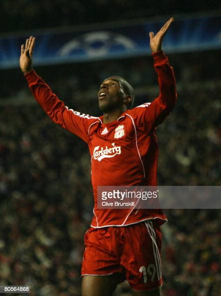 Ryan Babel of Liverpool celebrates scoring his team's fourth goal during the UEFA Champions League Quarter Final second leg match between Liverpool...