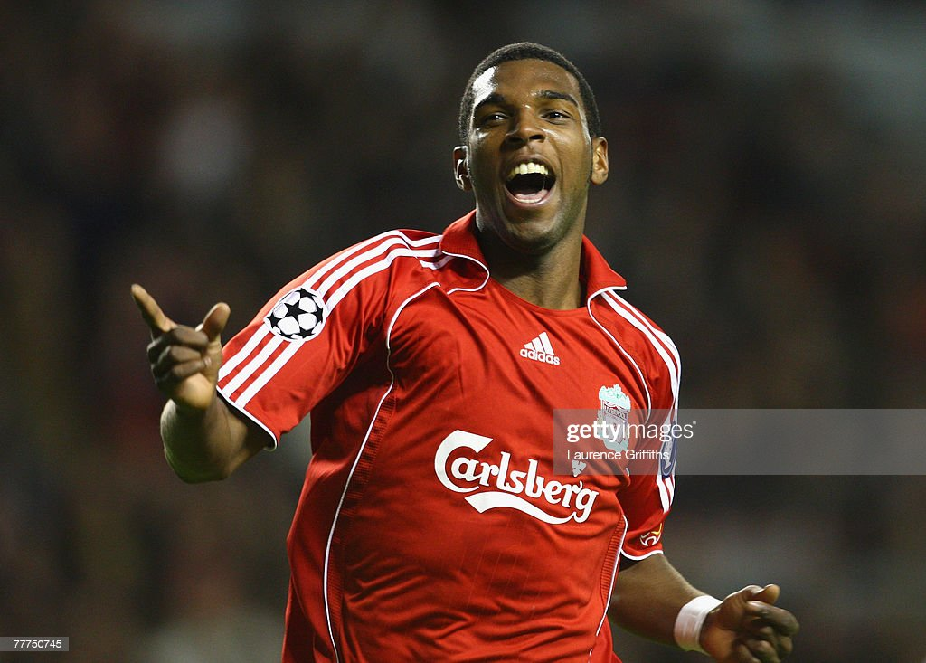 Ryan Babel of Liverpool celebrates scoring his team's seventh goal during the UEFA Champions League Group A match between Liverpool and Besiktas at...