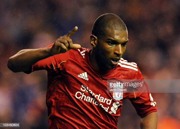 Ryan Babel of Liverpool celebrates scoring the first goal during the UEFA Europa League Play off first leg Qualifying match between Liverpool and...
