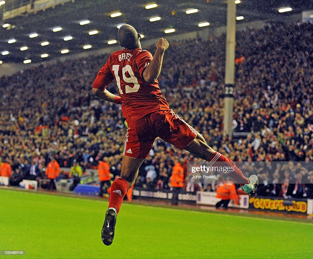 <a gi-track='captionPersonalityLinkClicked' href=/galleries/search?phrase=Ryan+Babel&family=editorial&specificpeople=543539 ng-click='$event.stopPropagation()'>Ryan Babel</a> of Liverpool celebrates scoring the first goal during the UEFA Europa League, Play off, first leg Qualifying match between Liverpool and Trabzonspor at Anfield on August 19, 2010 in Liverpool, England.