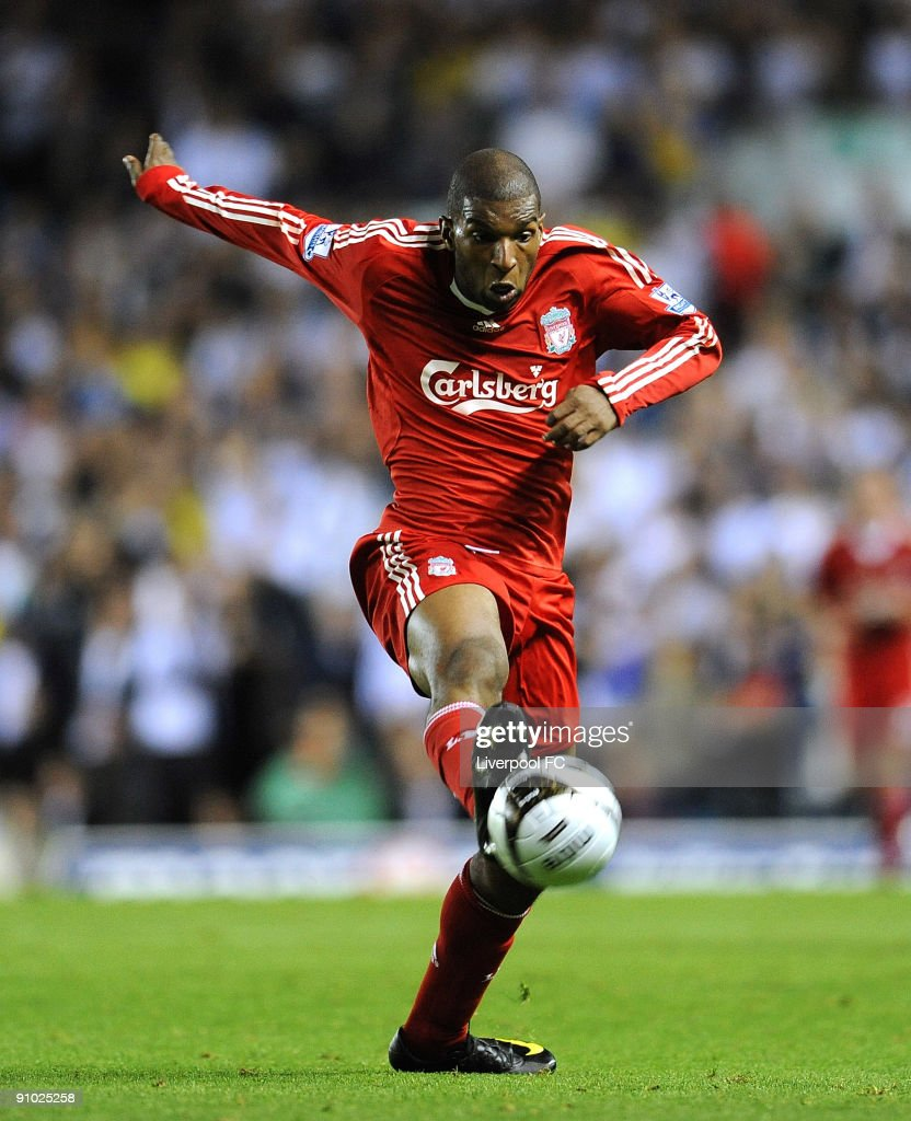 <a gi-track='captionPersonalityLinkClicked' href=/galleries/search?phrase=Ryan+Babel&family=editorial&specificpeople=543539 ng-click='$event.stopPropagation()'>Ryan Babel</a> of Liverpool in action during the Carling Cup 3rd Round match between Leeds United and Liverpool at Elland Road on September 22, 2009 in Leeds, England.