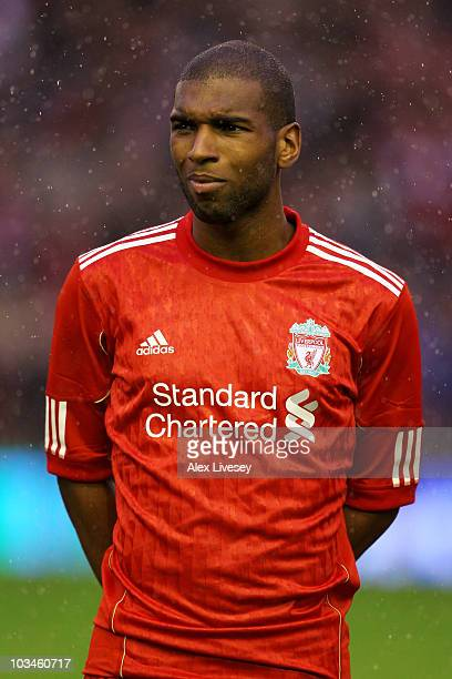 Ryan Babel of Liverpool looks on prior to the UEFA Europa League playoff first leg match beteween Liverpool and Trabzonspor at Anfield on August 19...