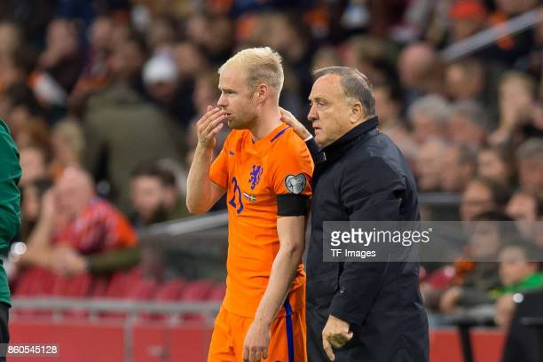 Ryan Babel of Netherlands and head coach Dick Advocaat of Netherlands gesture during the FIFA 2018 World Cup Qualifier between Netherlands and Sweden...