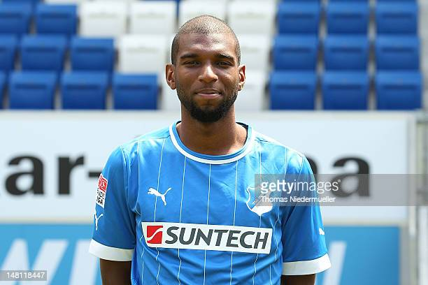 Ryan Babel poses during the team presentation of TSG 1899 Hoffenheim at Suntech Arena on July 10 2012 in Hoffenheim Germany