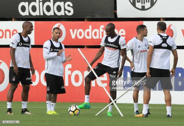 Ryan Babel Ricardo Quaresma Atiba Hutchinson Pepe of Besiktas attend a training session ahead of the Turkish Spor Toto Super Lig new season match...