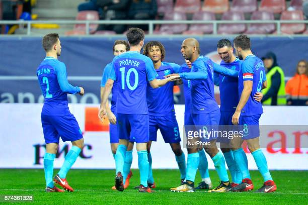 Ryan Babel Steven Berghuis Kevin Strootman of Netherlands celebrating a goal during International Friendly match between Romania and Netherlands at...
