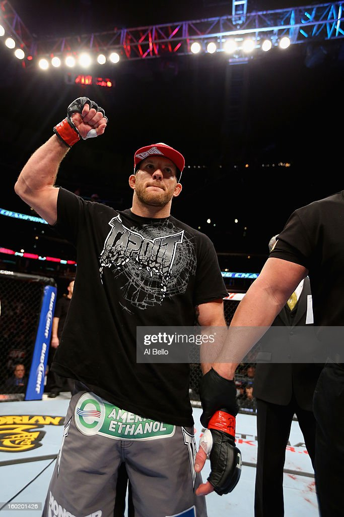 Ryan Bader celebrates defeating Vladimir Matyushenko during their Light Heavyweight Bout part of UFC on FOX at United Center on January 26, 2013 in Chicago, Illinois.