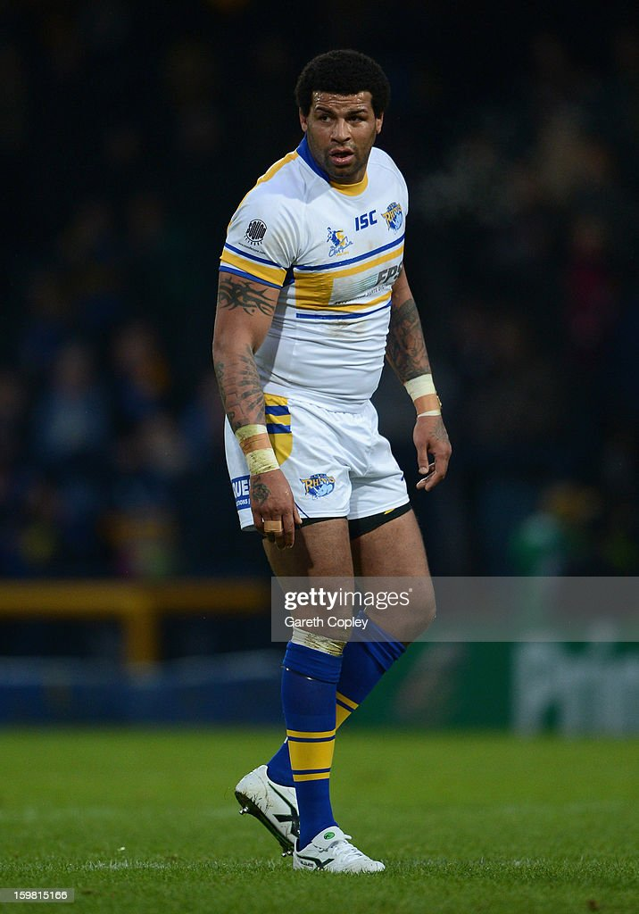 Ryan Bailey of Leeds during Rugby League pre-season friendly between Leeds Rhinos and Bradford Bulls at Headingley Stadium on January 20, 2013 in Leeds, England.