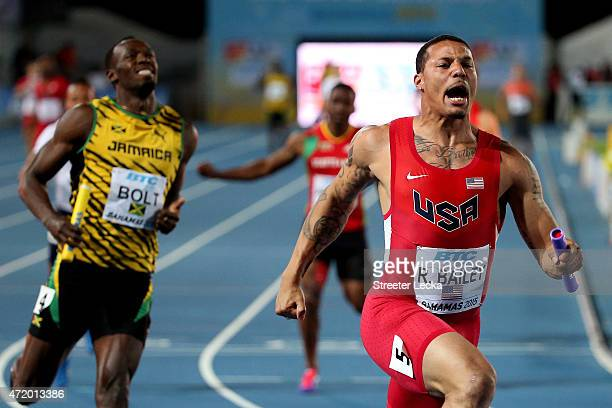 Ryan Bailey of the United States celebrates after winning the final of the men's 4 x 100 metres on day one of the IAAF World Relays at Thomas...