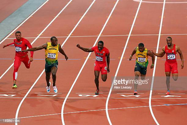 Ryan Bailey of the United States Usain Bolt of Jamaica Justin Gatlin of the United States Yohan Blake of Jamaica Tyson Gay of the United States Asafa...