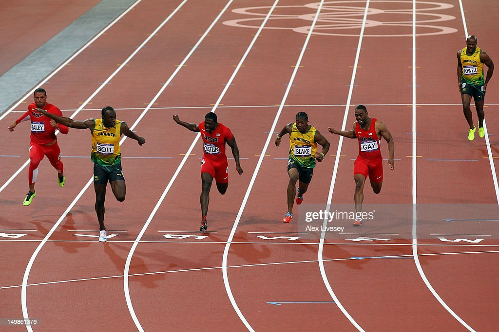 Ryan Bailey of the United States Usain Bolt of Jamaica Justin Gatlin of the United States Yohan Blake of Jamaica Tyson Gay of the United States Asafa...