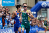 Ryan Bailie sprints to second place for Australia in the Team Relay World Championship at the ITU World Triathlon Hamburg on July 17 2016 in Hamburg...